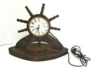 Vintage Nautical Wood Lanshire Ship Wheel Clock Base