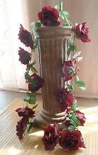 Rosengirlande dunkelrot ca.250 cm  Blüte ca. 12 cm Kunstblumen -Seidenblumen