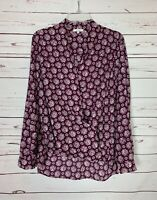 Pleione Anthropologie Women's L Large Wine Long Sleeve Cute Blouse Top Shirt