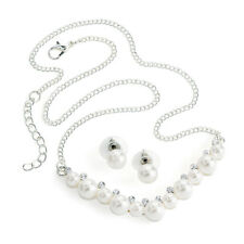 """Gorgeous 18"""" long Silver tone crystal & white pearl chain necklace & earring set"""