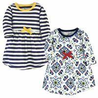 Touched By Nature Girl Toddler Organic Cotton Dresses, Pottery Tile Long Sleeve