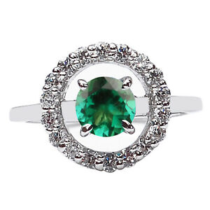 14KT White Gold & 1.50Ct Natural Zambian Green Emerald With White Diamond Ring
