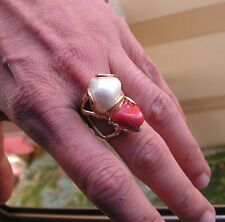 Silver Gold Ring With Real Pearls And Coral,size 7.5 Adjustable