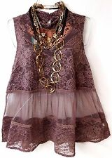 Maurices mauve lace neck high sleeveless see through sexy victorian 1, 1X