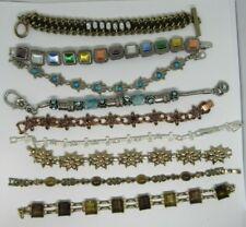 Vintage Rhinestone Stone Silver tone bracelet lot of 9, 1 Avon Cross, Mixed lot