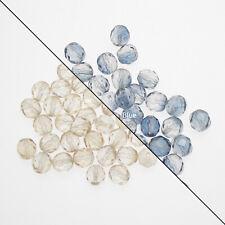 25 Clear/Blue Crystal Czech Glass Flat Circular 8mm Beads
