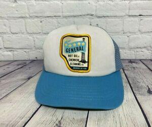 Vintage Trucker Hat Mesh Blue General Hot Oil & Chemical Cleaning Ltd. Cap Patch