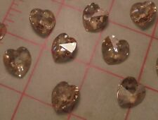 6 Czech Heart Pendants Faceted Crystal Honey Color 14mm