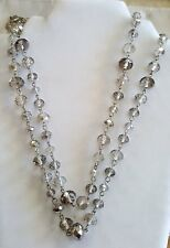 Vintage smokey topaz faceted crystal bead long 58 in necklace belt #2