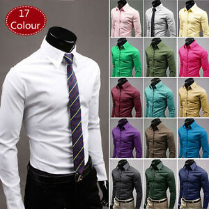 Mens Long Sleeves Shirts Slim Fit Business Work Button Up Dress Multicolor Shirt