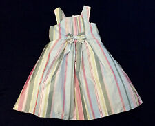 NWT GYMBOREE Spring Social Easter Multi-color Bow Stripe Silk Dress Girls 5