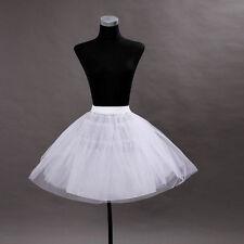 White Polyester Taffeta Four tiers Petticoat Short Length -PT0007