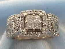 14K White Gold Wedding Set, 74 Diamonds, TCW, 1 Carat, size 4.75