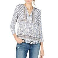 INC NEW Women's Floral 3/4 Sleeve Zip Neck Blouse Shirt Top TEDO