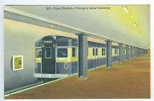 Vintage Chicago's Initial Subways Train Platform Postcard