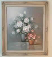 LARGE ROBERT COX Oil Painting Signed. Beautiful Florals!! Excellent 25x29 Frame