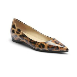 Women Loafer Leopard Patent Leather Pointed Toe Pumps Casual Flats Shoes Slip On