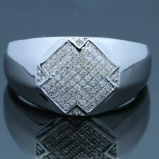 Solid 10K White Gold Fine Ring Men's Jewelry Engagement Diamonds Special Band