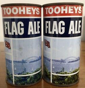 Tooheys Flag Ale.13-1/3FL.OZ. Steel Beer Cans. 2 Different Flat Tops.