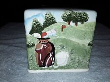 Ceramic Golf Tissue Box Cover Room Decor Bag on Back Handpainted
