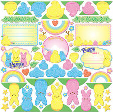 Scrapbook Peeps Marshmallow Easter Paper Die Cuts Chick Candy Bunny 62pc glitter