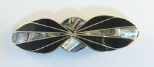 """Alpaca hair clip / Barette with abalone shell inlay black color 3 1/2"""" long"""