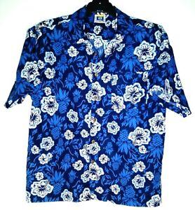 HANG TEN  Hawaiian Print Casual Shirt Blue/White Size 14 Chest: 80 cm