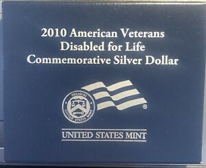 2010-W American Veterans Disabled for life Unc, Silver Dollar w/Box and Coa.