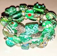 New memory wire bracelet with green and silver glass beads.  FREE SHIPPING