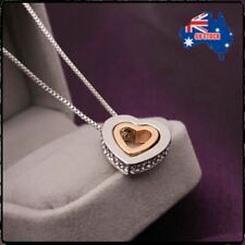 Fashion Women Crystal Heart Diamond Stud Gold and Silver Chain Pendant Necklace