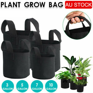Up to 10 Fabric Plant Pots Grow Bags with Handles 3 5 7 10 Gallon