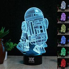 Star Wars R2-D2 3D LED Tischlampe 7 Farbe Tischleuchte Leselampe USB Nachtlicht