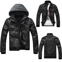 Fashion Men's Black Slim Fit Jacket Biker Motorcycle Leather Jacket Warm pref