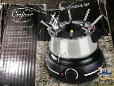 Crofton Electric Fondue Set Stainless Steel 8 Forks New Open Box