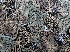 Cotton Dress Quilt Fabric Camouflage African Animals Design Zebras Leopards
