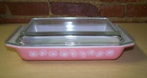 VINTAGE PYREX PINK DAISY 1 1/4 Qt Spacesaver Casserole Dish 548-B With 550-C Lid
