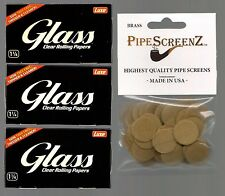 """3X  LUXE GLASS 1 1/4 Size Clear Rolling Papers & 100+ (3/4"""") BRASS SCREENS"""