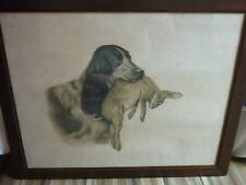 LEON DANCHIN LITHOGRAPHIE COCKER  LAPIN  OLD LITHOGRAPH  ETCHING SPANIEL RABBIT