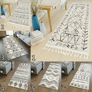Cream Grey Extra Long Wide Narrow Hall Hallway Runner Rugs Thick Aztec Carpet