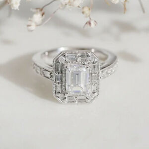 2.98 TCW Emerald Cut Moissanite Vintage Engagement Ring In 14k White Gold Plated