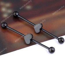 2pc Black Punk Steel Heart Industrial Barbell Stud Ear Ring Piercing Jewelry