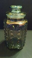 """Vintage Iridescent Carnival Glass Canister/Cookie Jar - 9"""" Tall"""