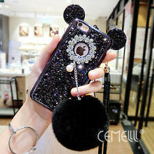 Mouse Ear Glitter Pearl Furry Ball Neck Strap For iPhone 6/7/7+/8/8+ Case Cover