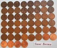 World Coin Lot:  52 Different Dates & Mints of British Large Pennies 1900-1967 B