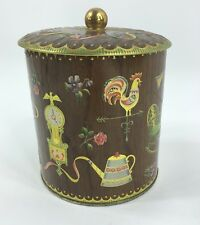 Vintage Tin Canister embossed brown gold Daher England