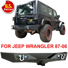 TEXTURED Rear Bumper w/LED Lights & Heavy Duty for 87-06 Jeep Wrangler YJ TJ V2