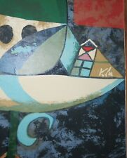 Original Vintage 16 x 27 Paul Klee Lithograph c 1950 Rare Signed in Print