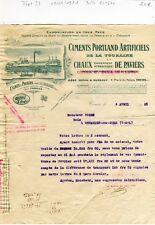 Dépt 37 - Paviers & Tours 4 Place du Palais - Belle Entête d'une Cimenterie 1921