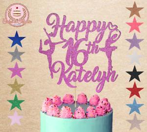 Dancer Dancing Ballerina cake topper glitter custom personalised any or age name