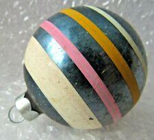 "Vintage Glass Christmas Ornament 3"" Deep Blue W/ Stripes"